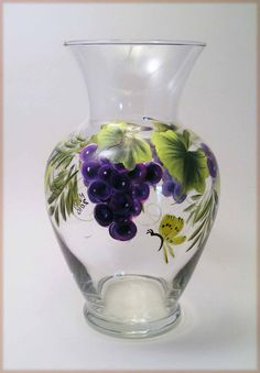 Hand Painted Grape Glass Vase