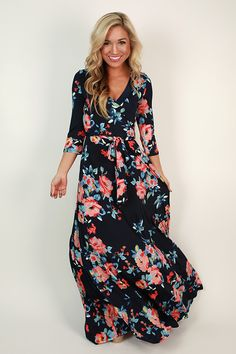 Fields Of Pretty Maxi Dress in Navy