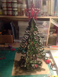 Christmas tree made from MDF painted with acrylics from Tonic Studios then decoupaged. Spellbinders Cards, Cut Out Design, Card Designs, Acrylics, Studios, Paper Crafts, Christmas Tree, Holiday Decor, Lace
