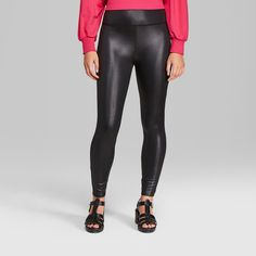 5be9f56abe2 Women s Faux Leather High-Rise Leggings - Wild Fable Black Xxl