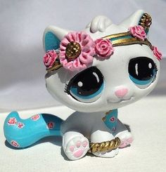 Littlest pet shop Cat * Summer Rose Kitty * Custom Hand Painted LPS OOAK
