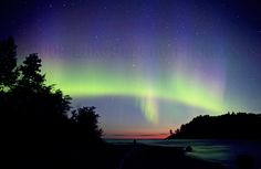 Marquette, Michigan with the Northern Lights