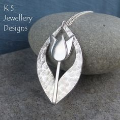 Textured Tulip Drop Sterling Silver Pendant - Handmade Metalwork Flower Floral £80.00