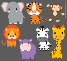 SAFARI ANIMALS Clipart Printable Instant by VivisPartyShop on Etsy