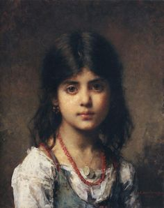 """Portrait of a young girl"" - Alexei Alexeievich Harlamoff [Harlamov] (Russian, 1840-1923), oil on canvas, 1904 {figurative art pretty female face impressionist child painting #nineteenthcentury #arthistory}"
