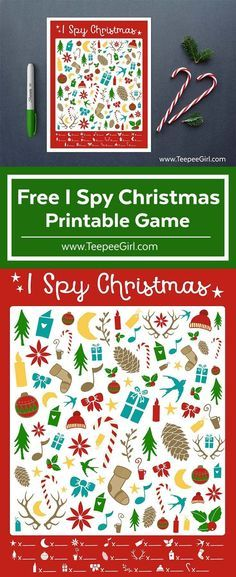 This free I Spy Christmas game is sure to keep all the kids happy and busy this holiday season! It even comes with an answer sheet. Get yours today at http://www.TeepeeGirl.com!
