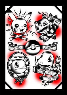 Pokemon tattoo art by Derick James Tattoo Flash Sheet, Tattoo Flash Art, Future Tattoos, Love Tattoos, Geek Tattoos, Female Tattoos, Watch Tattoos, Tattoo Sketches, Tattoo Drawings