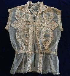Vintage Net Lace Blouse Fine Normandy Embroidered Trim Unused | eBay