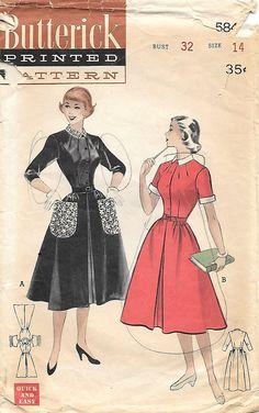 Butterick 5846 1950s Quick and Easy Teen Age Shirtwaist Dress