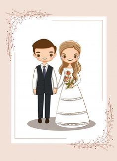 Cute Couple For Wedding Invitations Card Wedding Couple Cartoon, Cute Couple Cartoon, Cute Love Cartoons, Wedding Illustration, Couple Illustration, Wedding Card Design Indian, Wedding Designs, Wedding Invitation Background, Wedding Invitations