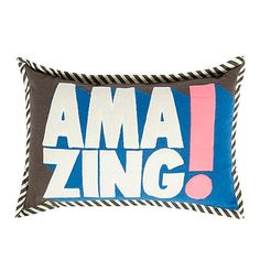 Ben de Lisi Home Designer blue striped 'Amazing!' cushion- at Debenhams.ie