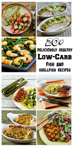 20 Deliciously Healthy Low-Carb Fish and Seafood Recipes for Spring. Whether you're trying to lose a few pounds or just feel like lighter fare, these fish and seafood recipes will hit the spot!  All these recipes are Low-Carb, Gluten-Free, and South Beach Phase One, and most are also Paleo.  [from KalynsKitchen.com]