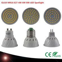 E27 MR16 GU10 Lampada LED Bombilla 220 V 230 V Bombillas LED de La Lámpara Spotlight 4 W 6 W 8 W 48LED 60LED 80LED 2835 Mancha Lampara Planta luz(China (Mainland))