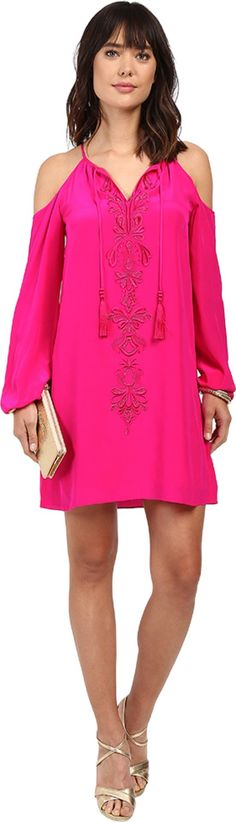 Lilly Pulitzer Women's Fulton Tunic Dress Magenta Dress. Lilly Pulitzer Size Guide. Look sensational in silk. Long-sleeve tunic dress in floaty silk crepe de chine. Embellished tonal embroidery adorns the front. Shoulder cutouts. Notched neckline flaunts tasseled strings. Cutaway front and back shoulders. Gathered elastic cuffs. Straight hem. Lined. Slip-on. 100% silk;Lining: 100% polyester. Dry clean. Imported. Measurements: Length: 37 in Product measurements were taken using size SM....