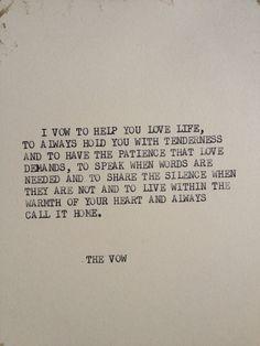 DAS Gelübde: Typewriter Zitat auf 5 x 7 cardstock von WritersWire