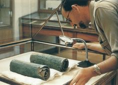 Another view of the Copper Scroll. The Copper Scroll is housed at the Jordan Archaeological Museum in Amman.