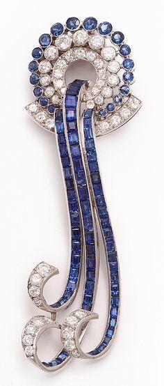 Sapphire and Diamond Waterfall Brooch 1935 (via ♥ bluewhite ♥ / sapphire and diamond waterfall brooch, By Paul Flato, American, circa 1935)