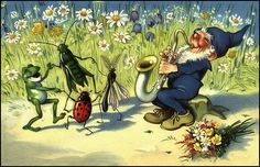 Divided Back Postcard Gnome with Dancing Bugs, Frog Frogs Dancing Animals, Naive Art, Fantasy Landscape, Vintage Postcards, Vintage Cards, Faeries, Gnomes, Flower Art, Folk Art