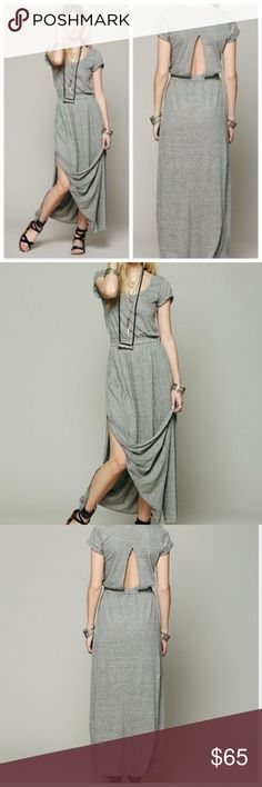 FREE PEOPLE BEACH MAXI DRESS Jersey knit maxi dress with elastic waist and slit at lower back. Sleeve hems are cuffed. Tall slit at each bottom side. An elegant shape with a casual cool feel.  Care/Import  Tri Blend Twist Jersey Machine Wash Cold *Import Free People Dresses Maxi