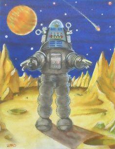 8 1/2 x 11  Robby Robot  retro space art print by wardartstudios