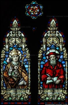 A stained glass panel that depicts St. Jerome and St. Medieval Stained Glass, Stained Glass Church, Stained Glass Windows, Saint Gregory, St Jerome, Church Windows, Archangel Michael, Glass Panels, Saints