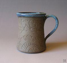 Pottery Mug Bollywood Mug Hand carved Henna by DragonflyArts