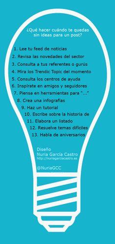 Qué hacer cuando se quedo sin ideas para un post. #Infografía en español