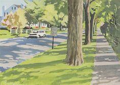 Fairfield Porter (American, 1907-1975), Tree-lined Street, 1972. Oil on canvas, 25 x 35 in.
