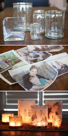➡Jar, candles and photographs:This is a great way to have your beloved ones ar. - ➡Jar, candles and photographs:This is a great way to have your beloved ones around you ➡Glas, Teelicht und Fotografien: Das ist eine schöne Idee,. Diy Photo, Photo Craft, Mason Jar Crafts, Bottle Crafts, Mason Jars, Diy Simple, Navidad Diy, 242, Ideias Diy