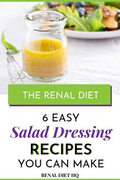 Need some kidney friendly salad dressing for your renal diet salads? Salad can be great lunch or dinner options, but dressing can be high in sodium. So check out these 6 easy kidney disease diet salad dressing recipes that are perfect for your low sodium renal diet! | Easy Renal Diet Recipes | Kidney Diet Salad Dress | Low Sodium Salad Dressing Recipes | Kidney Friendly Recipes | Kidney Diet Recipes | Kidney Disease Diet Recipes #LowSodium #RenalDiet #KidneyDiet #KidneyDisease #KidneyFriendly