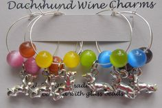 Dachshund Wine Charms Drink Stem Markers set of 6 silver pewter glass beads USA-made by earringsbysusan on Etsy