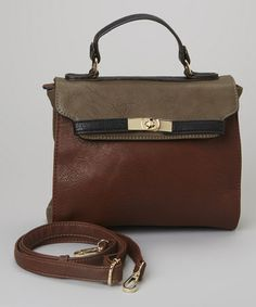 Another great find on #zulily! Brown & Burgundy Color Block Messenger Bag #zulilyfinds