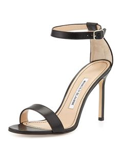 Chaos Leather Ankle-Strap Sandal, Black by Manolo Blahnik at Bergdorf Goodman.
