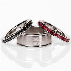 Chicago Black Hawks wedding bands: cant believe people do this, but still kindof cool