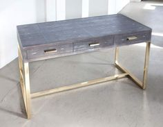 Gray Shagreen desk top with solid bronze base.