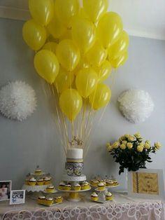 Yellow, gray & white Baby Shower