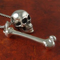 Skull and Bone Necklace Antique Silver