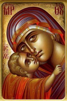 Theotokos by Eleni Dadi Byzantine Icons, Byzantine Art, Religious Icons, Religious Art, Orthodox Catholic, Greek Icons, Verge, Jesus Christ Images, Russian Icons