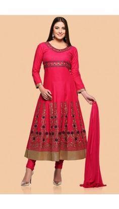 Pink Cotton Anarkali churidar Suit With Dupatta - 1757