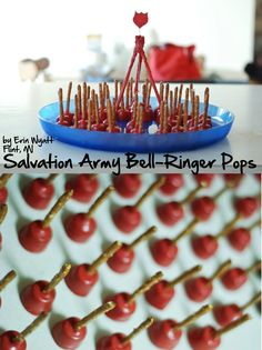 Salvation Army Bell Ringer Pops! Rolos on a pretzel stick dipped in red candy melts.