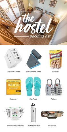 Check Out Our Ultimate Hostel Packing List For Ten Things You Can't Go to a Hostel Without. (Travel Gadgets Backpacking)