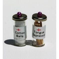 Dollhouse Miniature Cotton Ball & Tongue Depressor Jars