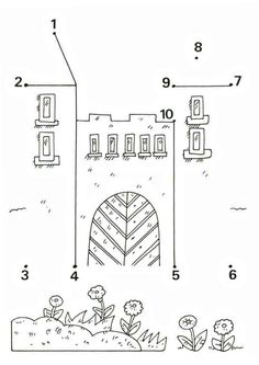 Crafts,Actvities and Worksheets for Preschool,Toddler and Kindergarten.Lots of worksheets and coloring pages. Preschool Worksheets, Math Activities, Preschool Activities, Fairy Tale Theme, Fairy Tales, Castles Topic, Chateau Moyen Age, Castle Crafts, Connect The Dots