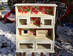 Furniture, Farmhouse, Hutch, Curio Cabinet, Knick Knack Cabinet, Shelves, Furniture, Storage, Chicken Wire, Floral Cabinet, Floral Decoupage by CasaKarmaDecor, $145.58 USD