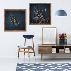 Moody Leaves square wall art set 🖤 Just love how beautifully it compliments the wooden furniture and indigo blue decor accessories! Leaf Wall Art, Leaf Art, Art Prints For Home, Living Room Inspiration, Inspiration Wall, Wall Art Sets, Vintage Prints, Leaves, Indigo Blue