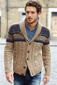 Cable knit, fairisle and shawl collar all in one! That's your winter wardrobe sorted!