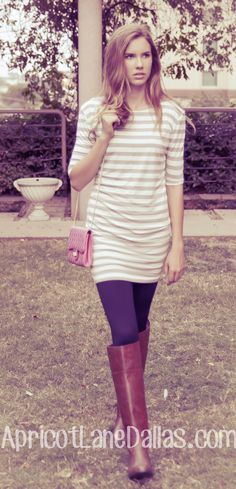 Taupe/Ivory striped t-shirt dress.  Stretchy and fabulous! Paired with leggings, riding boots, and pink purse! #fashion #apricotlanedallas