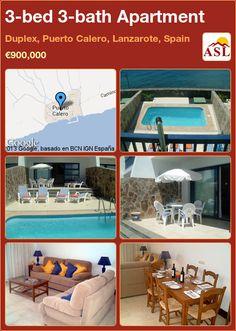 3-bed 3-bath Apartment in Duplex, Puerto Calero, Lanzarote, Spain ►€900,000 #PropertyForSaleInSpain