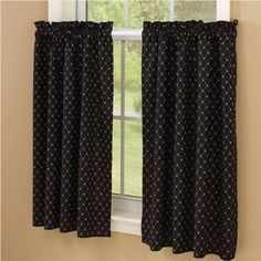 "Carrington Lined Tiers - 36"", provide added privacy or coverage and are the perfect complement to our valances and swags. Black and Bisque. Total width 72"" x 36"" long. 100% Cotton. Lined. Dry cleaning recommended to prevent shrinkage. #country #tier #curtains"