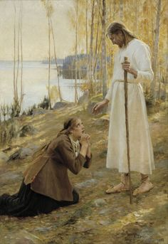"sherripage: "" Albert Edelfelt , Kristus ja Mataleena, 1890 Edelfelt has placed Christ in a Finnish landscape, in a grove of birches beside a lake. He wears bast shoes. The model for Christ was Finnish painter Magnus Enckell, and the model for Mary. Christian Images, Christian Art, Lds Art, Bible Art, Catholic Art, Religious Art, Arte Lds, Maria Magdalena, Marie Madeleine"